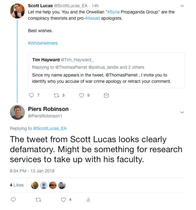 Scott Lucas attacks Piers Robinson and Tim Hayward on Twitter
