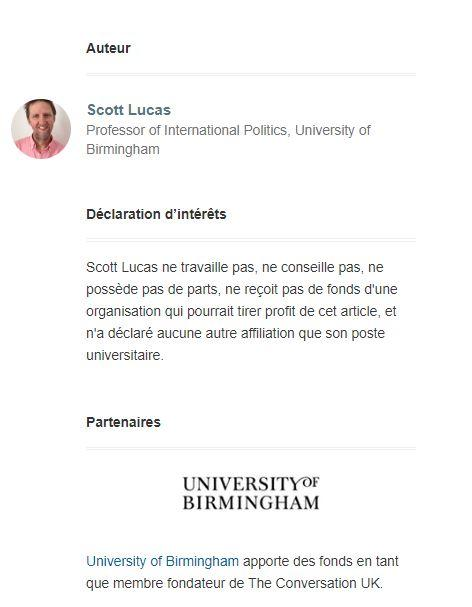 Scott Lucas claims no affiliations other than Birmingham University