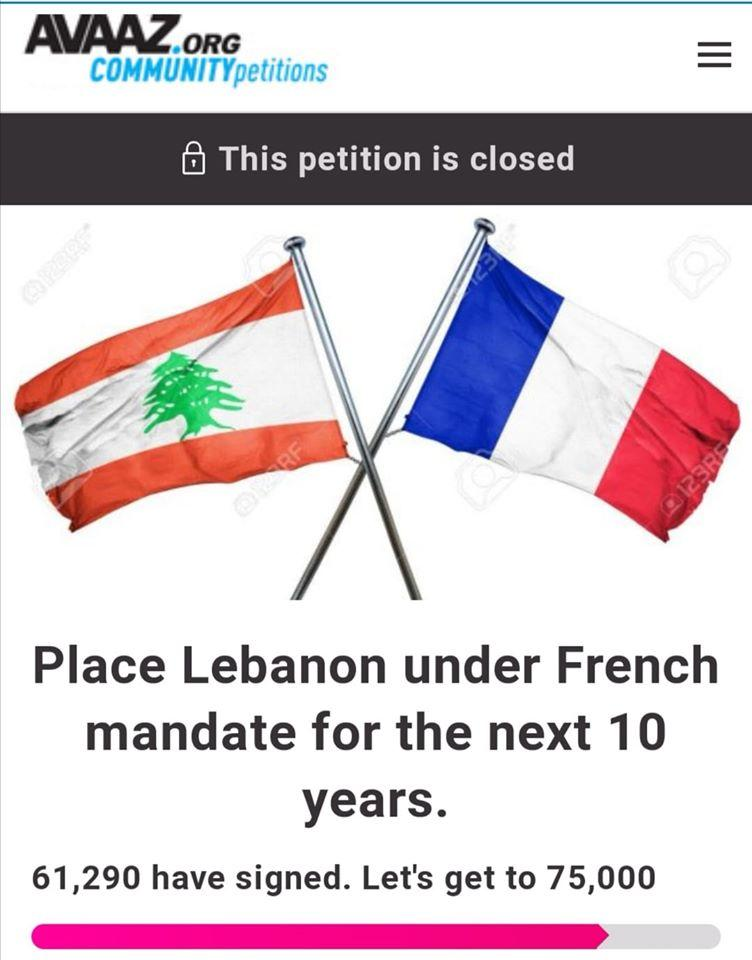 Avaaz community petition calling for Lebanon to return to French mandate control.